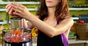 Personale femminile che prepara succo fresco in spremiagrumi stock footage