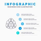 Personale, gruppo, clone, linea icona del cerchio con il fondo di infographics di presentazione di 5 punti royalty illustrazione gratis