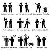 Personalidades humanas oposto aos valores positivos contra Cliparts negativo ilustração royalty free