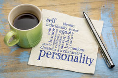 Personality and character word cloud. Handwriting on a napkin with a cup of coffee royalty free stock photo