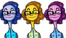 Personality, characters and styles, illustration. Three colored women, blue, purple and yellow, with short wavy hair, glasses, closed eyes, intellectual and Stock Photos