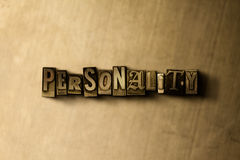 PERSONALITY - close-up of grungy vintage typeset word on metal backdrop Royalty Free Stock Image
