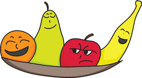 Personality fruit. Cartoon orange, pear, apple and banana characters with faces showing attitude, personality or mood Stock Photo