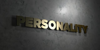 Personality - Gold text on black background - 3D rendered royalty free stock picture Royalty Free Stock Photos