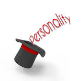 Personality. Illusionist's top hat on white background with pop-up caption 'Personality'. Concept for secrets hidden inside a man's mind Royalty Free Stock Image