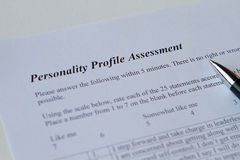 Personality Profile Assessment. Personality assessment form on white royalty free stock images