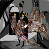 Personality, psychology, split personality, marionettes,. Images, perception of reality, inner world, raster illustration over a black background Stock Photo