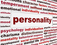 Personality social interaction design. Psychological issue creative words conceptual message Royalty Free Stock Image