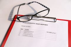 Personality Test or Assessment Form. As part of job interview screening process. An employment or hiring concept stock photos