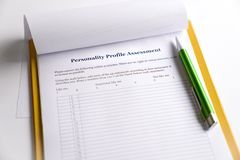 Personality Test or Assessment Form. As part of job interview screening process. An employment or hiring concept stock photo