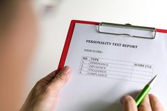 Personality Test or Assessment Form. As part of job interview screening process. An employment or hiring concept stock images