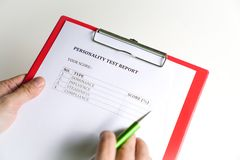 Personality Test or Assessment Form. As part of job interview screening process. An employment or hiring concept royalty free stock image