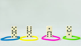 Personality traits concept based on colour types. Dominance, inducement, submission, and compliance. Domino represent Stock Photos