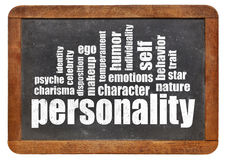 Personality word cloud on blackboard Stock Image