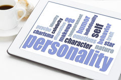 Personality word cloud on tablet Royalty Free Stock Photos