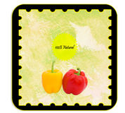 Personalizable Label. Labels - Personalizable label for alimentary products - peppers. English language Stock Photos