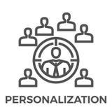 Personalizacja kreskowa ikona ilustracji