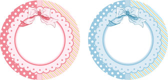 Personalized baby shower round sticker labels. Scalable vectorial image representing a personalized baby shower round sticker labels, isolated on white royalty free illustration