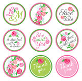 Personalized Candy Sticker Labels with rose Stock Photos