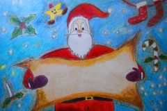 Santa Claus holding a blank space for Christmas greeting royalty free illustration