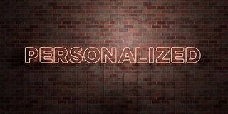 PERSONALIZED - fluorescent Neon tube Sign on brickwork - Front view - 3D rendered royalty free stock picture. Can be used for online banner ads and direct stock illustration