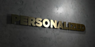 Personalized - Gold text on black background - 3D rendered royalty free stock picture. This image can be used for an online website banner ad or a print stock illustration