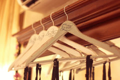 Personalized hangers for groom and groomsmen Stock Photos