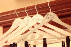 Personalized hangers for groom and groomsmen Royalty Free Stock Photo