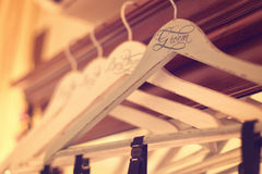 Personalized hangers for groom and groomsmen Royalty Free Stock Image