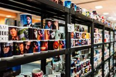 Personalized mugs at EECC 2017 Stock Photo