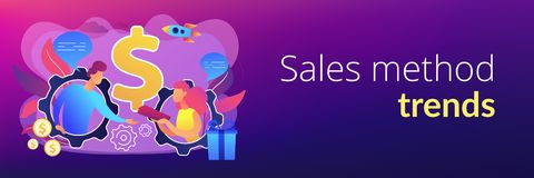 Personalized selling concept banner header. Salesperson trying to persuade customer in buying product. Personal selling, face-to-face selling technique, sales stock illustration