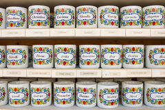 Personalized tea mugs with names on them sold in souvenir shop. St. Gilgen, Austria - May 22, 2017: Personalized tea cups with female names on them for sale in a Royalty Free Stock Images