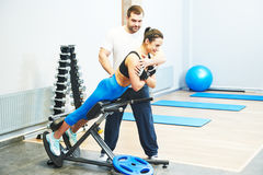 Personall trainer work in gym Royalty Free Stock Photos