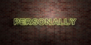 PERSONALLY - fluorescent Neon tube Sign on brickwork - Front view - 3D rendered royalty free stock picture Stock Image