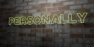 PERSONALLY - Glowing Neon Sign on stonework wall - 3D rendered royalty free stock illustration Stock Photo