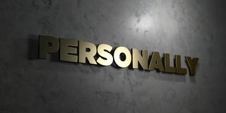 Personally - Gold text on black background - 3D rendered royalty free stock picture Royalty Free Stock Photography