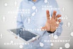 Personalmanagement, Stunde, Einstellung, Führung und Teambuilding Geschäfts- und Technologiekonzept lizenzfreie stockfotos