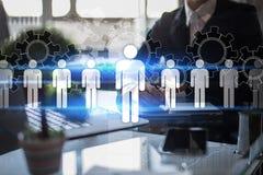 Personalmanagement, Stunde, Einstellung, Führung und Teambuilding Geschäfts- und Technologiekonzept lizenzfreies stockfoto