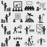 Personalresurs-, affärs- och ledningsymbolsuppsättning Arkivfoto