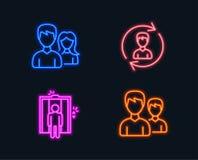 Personalresurs-, hiss- och teamworksymboler Partecken Uppdatera profilen, elevatorn, man med kvinnan vektor illustrationer