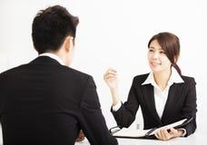 Personalresursbegrepp och jobbintervju Arkivbild