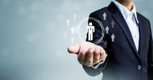 Personalresurser, CRM och rekryteringaffärsidé, kopieringsspac Arkivbild