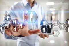 Personalresursledning, timme, rekrytering, ledarskap och teambuilding Affärs- och teknologibegrepp royaltyfria bilder