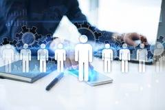 Personalresursledning, timme, rekrytering, ledarskap och teambuilding Affärs- och teknologibegrepp royaltyfri foto