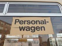 Personalwagen (staff vehicle) sign on German tram stock photos