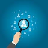 Personalwesen, CRM, Data - Mining, Offizier, der den Angestellten dargestellt durch Ikone sucht Auch im corel abgehobenen Betrag Lizenzfreie Stockfotografie