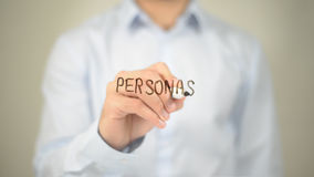 Personas, сочинительство человека на прозрачном экране Стоковое Изображение RF