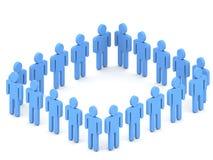 personas 3d en cuadrado azul Fotos de archivo