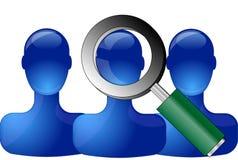 Personas azules con la lupa Imagenes de archivo