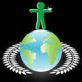 Personas con la paloma en el globo ilustración del vector